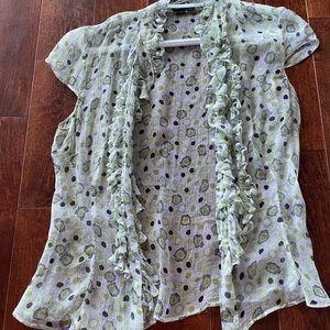 Sheer Green pattern ruffle blouse